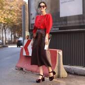 skirt,leather skirt,midi skirt,high waisted skirt,mid heel sandals,suede,blouse,crossbody bag,sunglasses