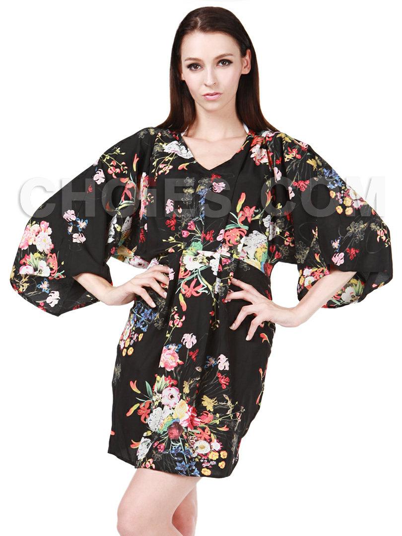 V Neck Floral Print Kimono - Choies.com