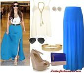 skirt,celebs,blue,maxi,slit,gold belt,kim kardashian,rayban,tank top