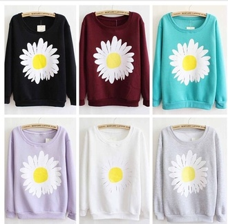black sweater red sweater daisy daisy sweater floral sweater blue sweater pink sweater white sweater jumper hoodie cute hoodie grey sweater sweater
