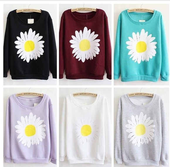 blue sweater black sweater red sweater daisy daisy sweater floral sweater pink sweater white sweater jumper hoodie cute hoodie grey sweater