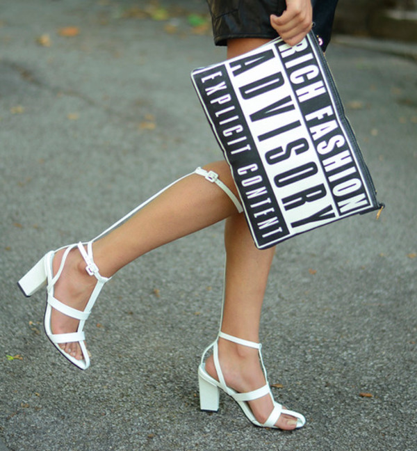bag fashion advisory clutch black and white black white high heels