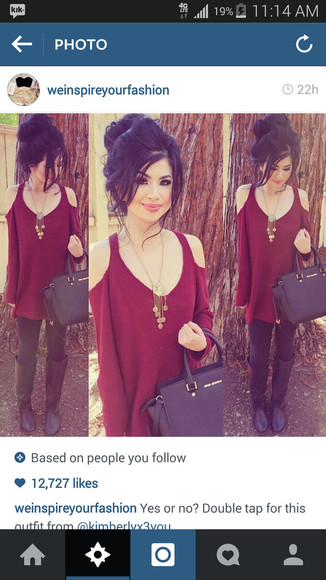 maroon/burgundy boots necklace open shoulder black boots black bag burgundy