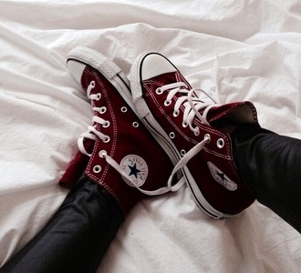 shoes converse high top converse wine red