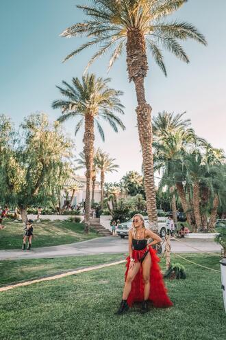 angelica blick blogger skirt tulle skirt red skirt bodysuit