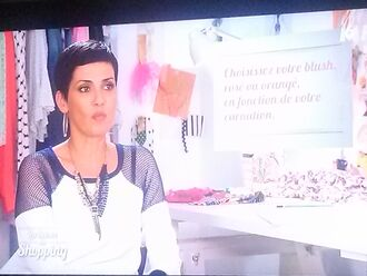 marine christina cordula pullover tv tv show bicolor white pullover multicolor les reines du shopping french model