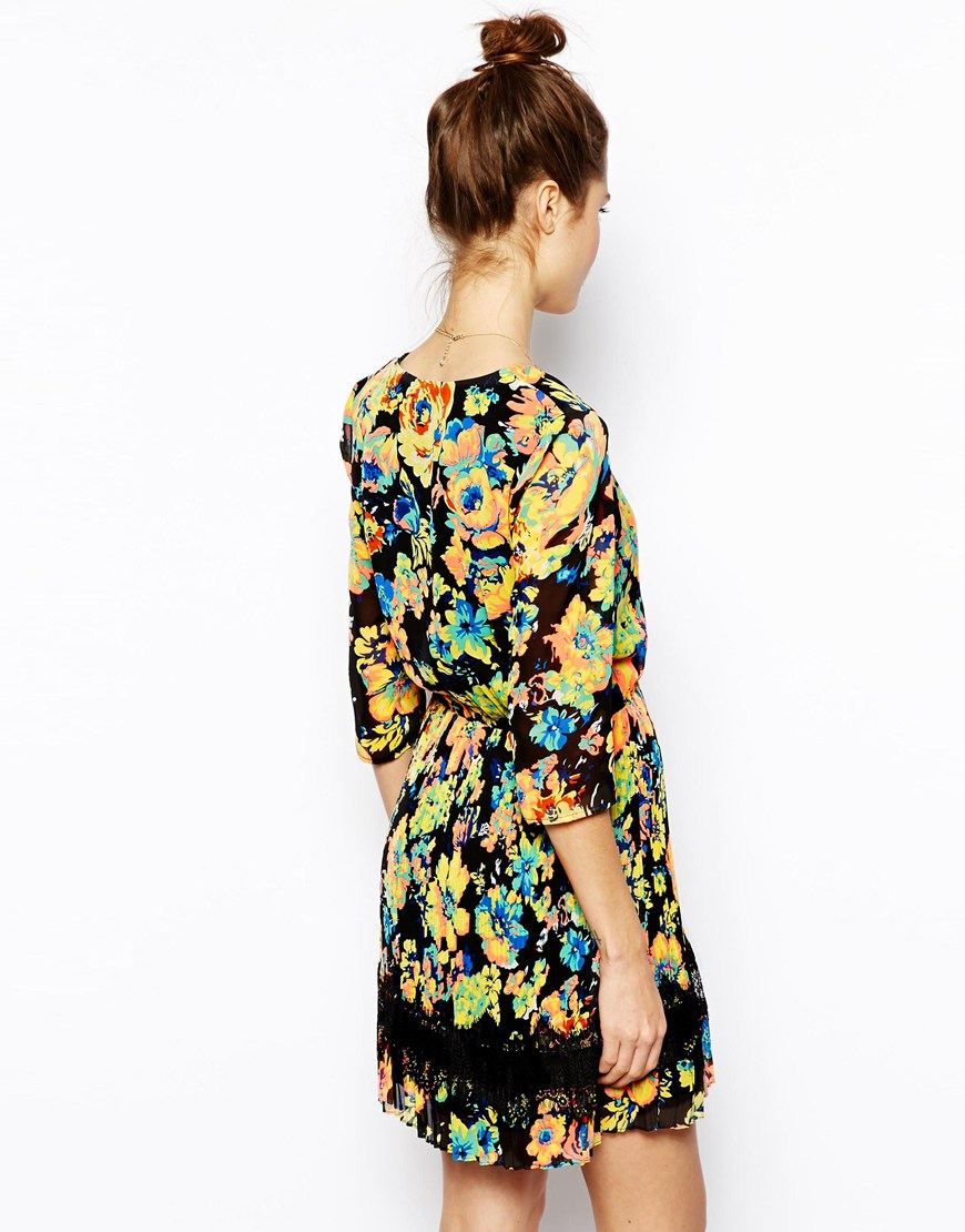 ASOS Skater Dress With Pleat and Print at asos.com