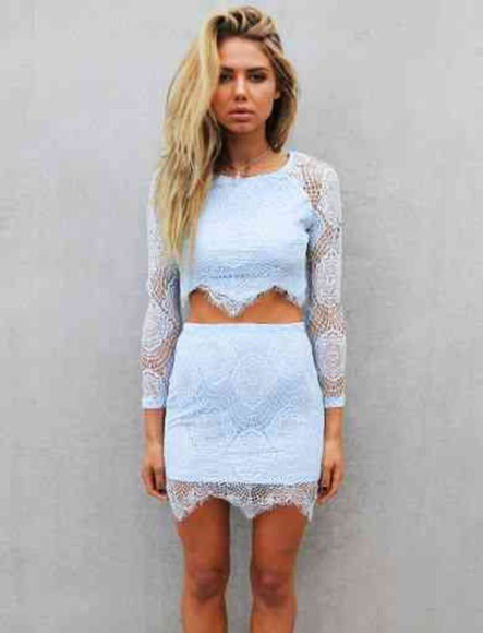 lace skirt lace shirt blue lace skirt blue lace shirt blue lace matching skirt and top matching lace skirt long sleeve lace top long sleeve crop top light blue high waisted skirts high waisted skirt, crop top