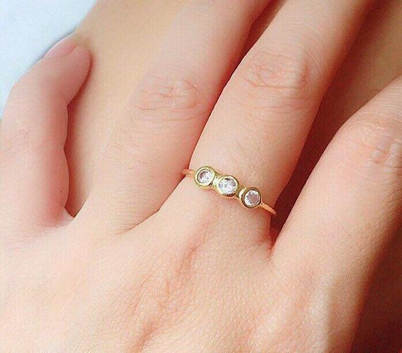 Cubic Zirconia Gold Ring - Cute Ring - Stacking Ring - Minimal Jewelry