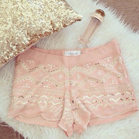 nude shorts Sequin shorts