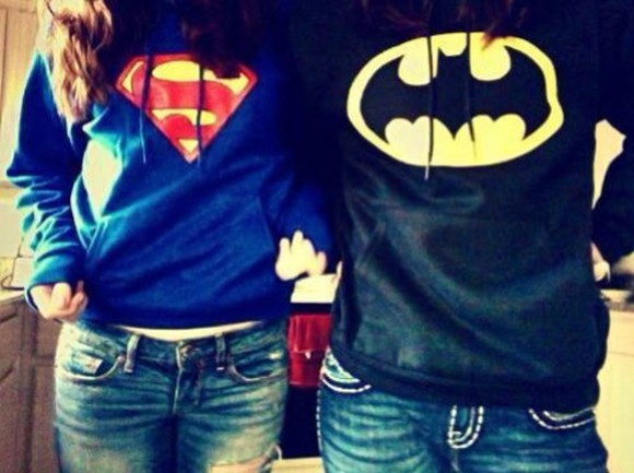 sweater batman superman couple