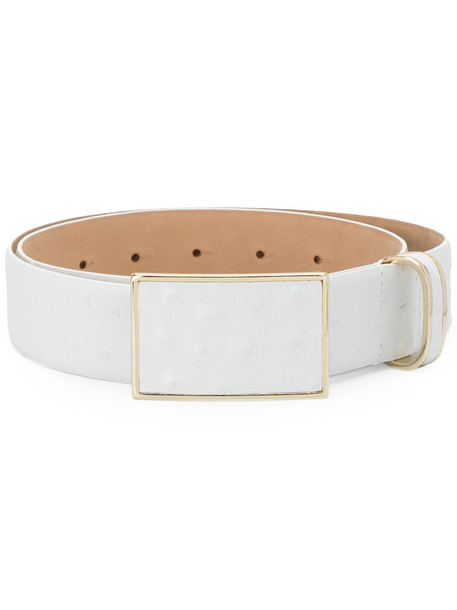 Max Mara women classic belt leather white