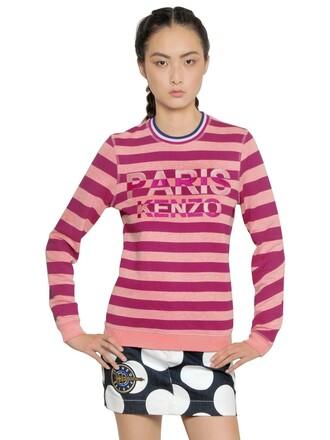 sweatshirt paris embroidered cotton pink sweater