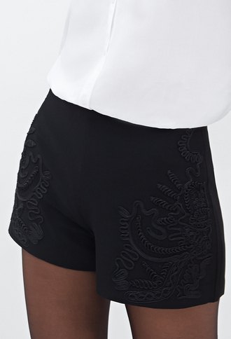 shorts embroidered black shorts black trendy forever 21