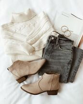 sweater,white sweater,shoes,beige shoes