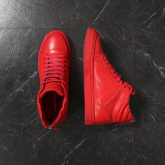 shoes maniere de voir sneakers trainers blood red mdv red shoes high top sneakers