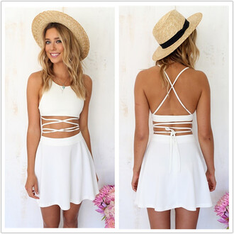 dress summah breeeze white dress strappy top strappy tank white skirt open back white open backed dress