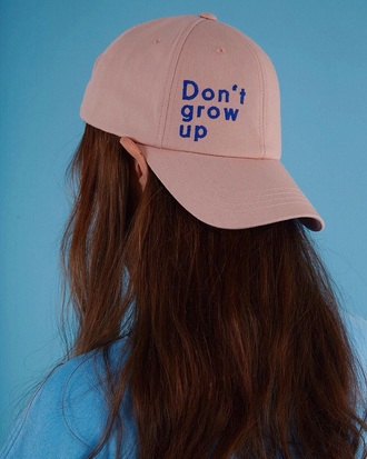 hat baseball cap baseball hat 90s style grunge quote on it pastel pink coral cap snapback cute rad streetwear style stylish hot cool blue streetstyle fashion fashion vibe instagram tumblr outfit chic hipster aesthetic pink cap