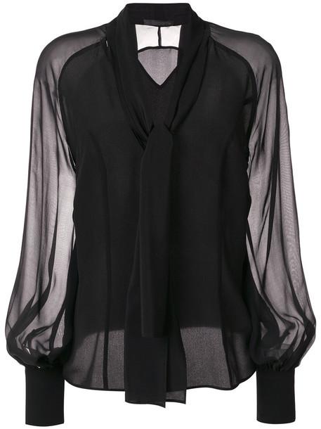 blouse bow women black silk top