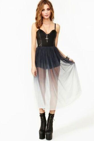 dress ombre sheer dark light black white shorts romper boots tumblr indie grunge pintrest