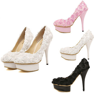 Princess Rose Flower Wedding Shoes Evening Party Dress High Heels | eBay