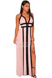 dress,maxi dress,halter top,halter dress,pink,pink dress,colorblock dress,grecian