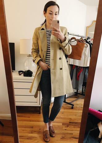 thecollegeprepster blogger coat shirt jeans shoes trench coat loafers striped top skinny jeans spring outfits