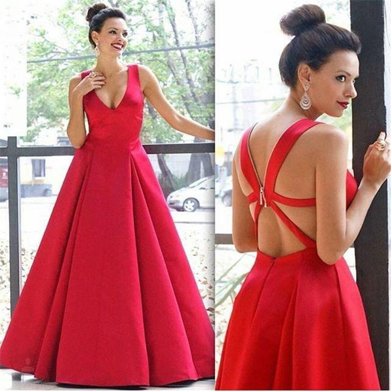 Red Sexy Plunging V Neck Evening Dresses 2016 Plus Size A Line Criss