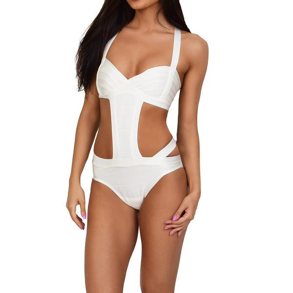 White Pearl Bandage Monokini Emprada