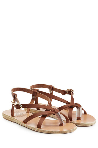sandals flat sandals leather brown shoes