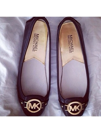shoes ballerina black ballerina ballet flats flat shoes summer mk michael kors fashion gold