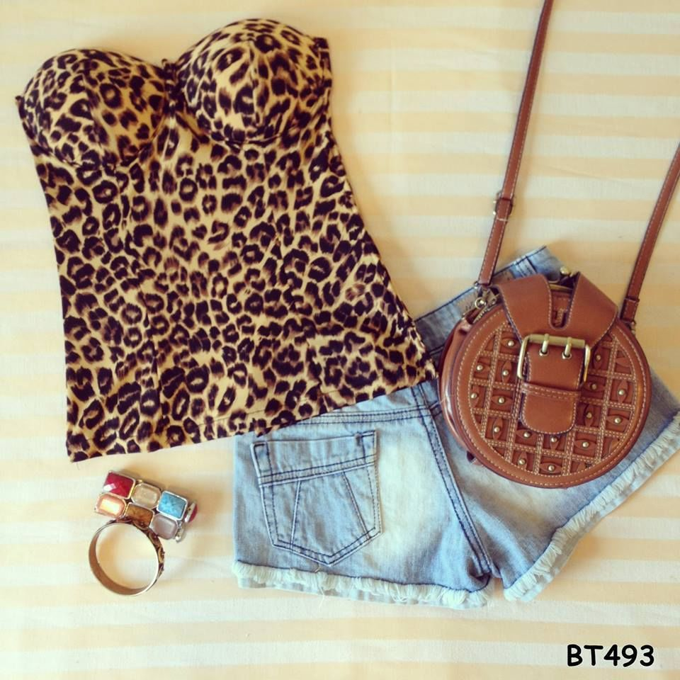 Leopard sexy corset style cropped top