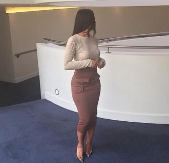 skirt brown high waisted skirt