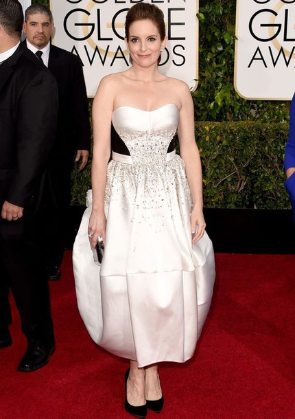 dress tina fey Golden Globes 2015