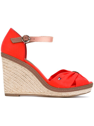 women sandals leather cotton red shoes