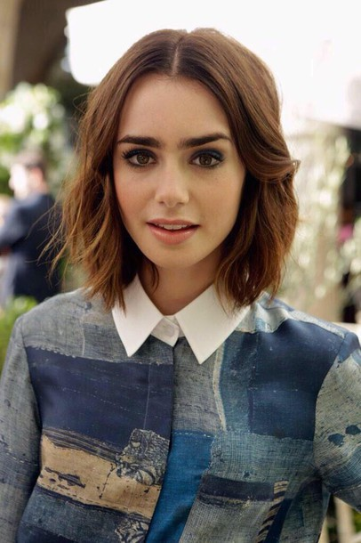 shirt lily collins blue shirt white shirt vintage indie beautiful hairstyles short hair brunette celebrity