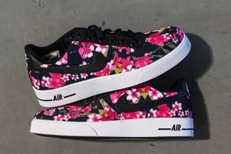 shoes nike shoes flowers print