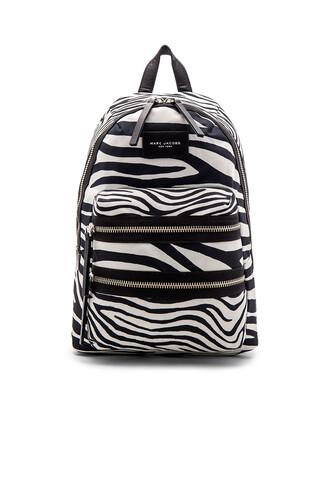 zebra backpack white black
