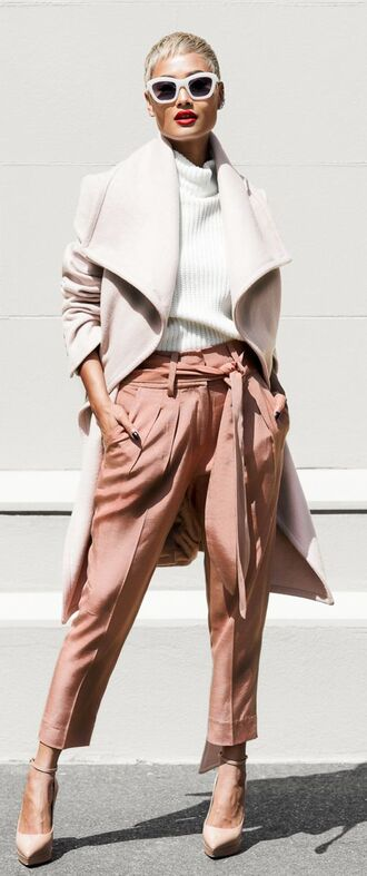 coat white and beige outfit white and beige beige coat sweater white sweater sunglasses white sunglasses pants beige pants pumps pointed toe pumps high heel pumps winter outfits winter look