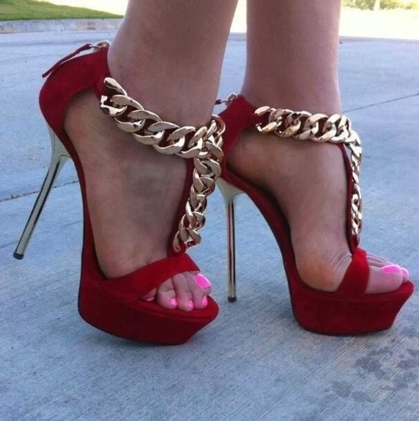 Shoes: high heels, red heels, gold chain, sandals, red with the ...