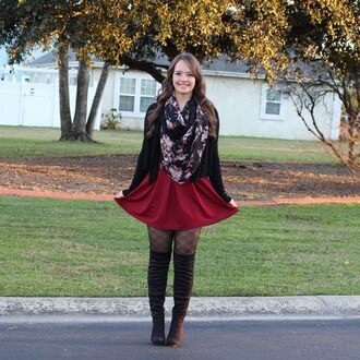 skirt burgundy skater skirt circle skirt circle burgundy skater plaid tights pantyhose thigh high boots over the knee boots black thigh high boots black over the knee boots black winter outfits thigh highs cardigan scarf floral fall outfits