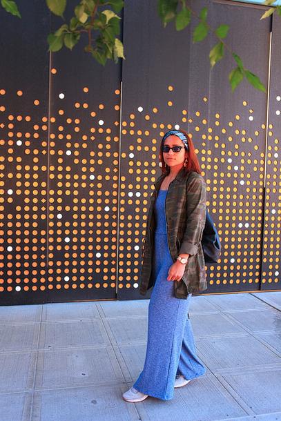 tanvii blogger jumpsuit shoes jacket jewels sunglasses camo jacket blue jumpsuit