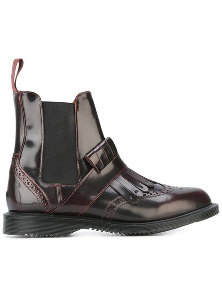 Dr. Martens women boots chelsea boots leather red shoes