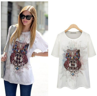 jewels white t-shirt white t-shirt owl tee owl tee shirt owl printed sweater clutch high heels