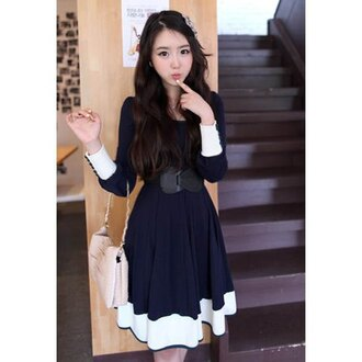 dress navy midi white asian kawaii fashion style belt fall outfits cute girly winter outfits long sleeves feminine lovely rose wholesale
