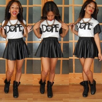 shirt dope skirt outfit t-shirt blouse leather skirt dope shit diamonds black little black dress gold chain boots necklace lipstick shoes lether skirt dopeshirt skater skirt combat boots ombre hair jewels black and white dope  shirt top dope shirt cardigan