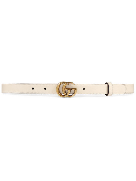 Gucci - Leather belt with Double G buckle - women - Leather/metal - 95, Nude/Neutrals, Leather/metal