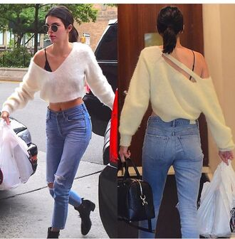 top jeans blue jeans streetstyle kendall jenner blouse style kardashians sweater oversized sweater fuzzy sweater knit v neck long sleeves crop tops white sweater cropped sweater fall outfits jumper white summer autumn/winter