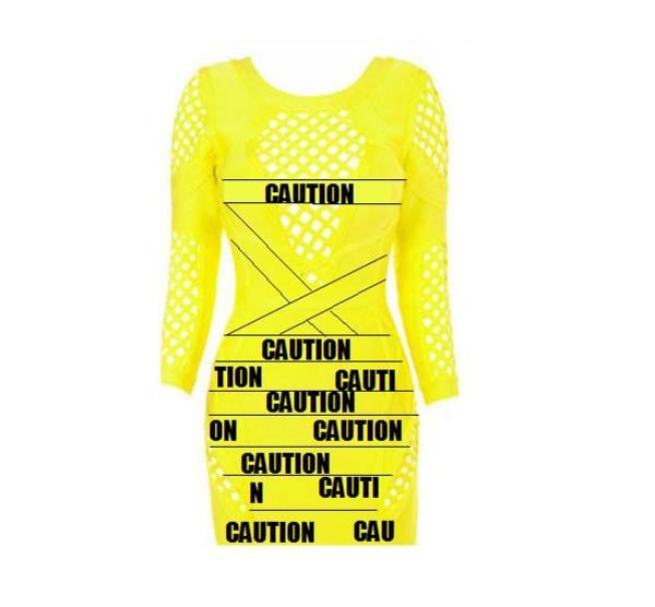 coat yellow caution dress bandage net mesh new cute hot sexy fashion
