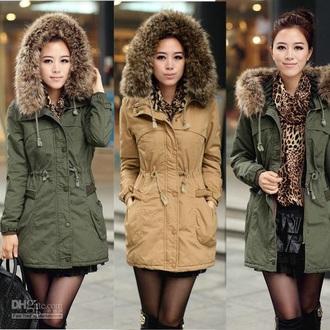 army green fur hood